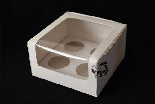 جعبه کاپ کیک ویترینی ۴ عددی - فروش اینترنتی جعبه کاپ کیک