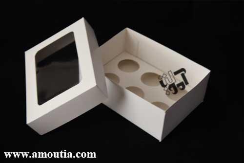 جعبه کاپ کیک ۶ عددی سفید رنگ - هنرخانه آموتیا