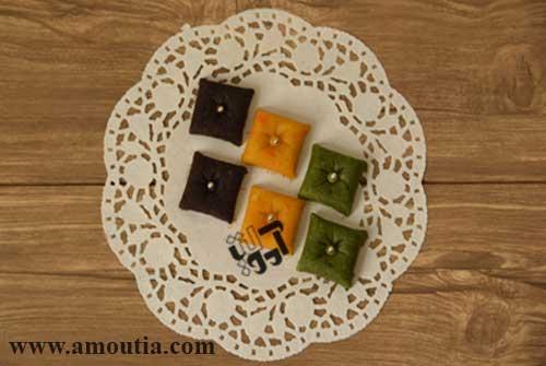 حلوای مخلوط با طعم پسته، هویج و شکلات (طرح بالش)