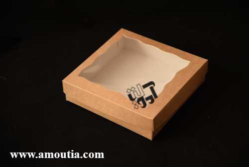 جعبه کوکی کاهی رنگ با درب طلق دار دالبُری