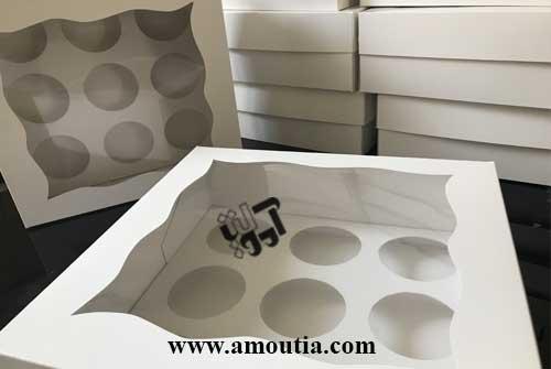 جعبه کاپ کیک 9 عددی سفید رنگ - فروش اینترنتی جعبه کاپ کیک