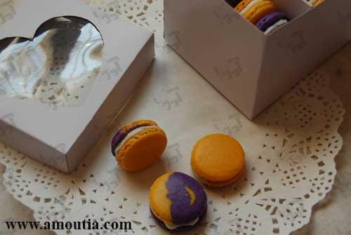 سفارش شیرینی ماکارون ۱۵ عددی با رنگ بنفش و زرد