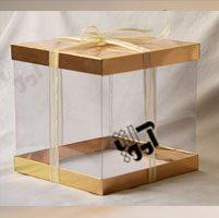 جعبه کیک سه تیکه کاملا طلقی با مقوای طلایی