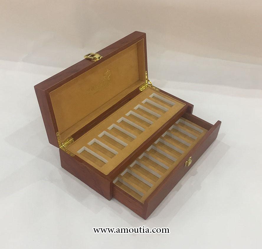 جعبه شکلات چوبی دو طبقه ای با تقسیم بندی