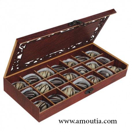 جعبه شکلات چوبی مستطیل با تقسیم بندی