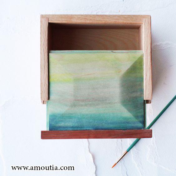 جعبه شکلات چوبی با درب کشویی نقاشی شده