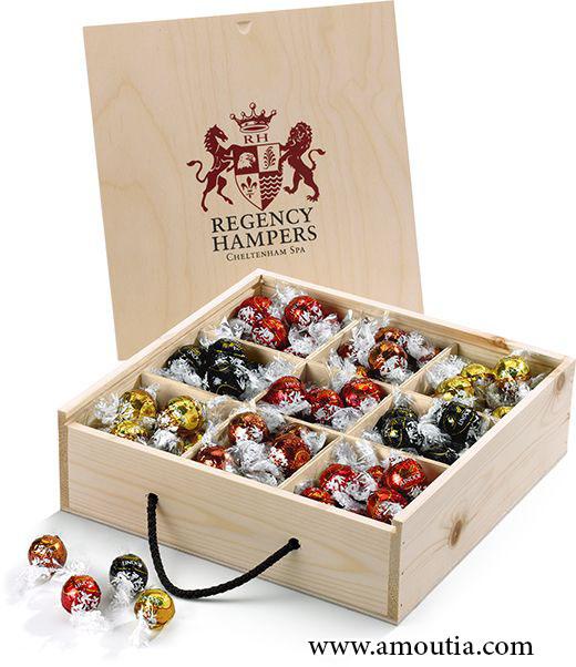جعبه شکلات چوبی با تقسیم بندی و درب کشویی