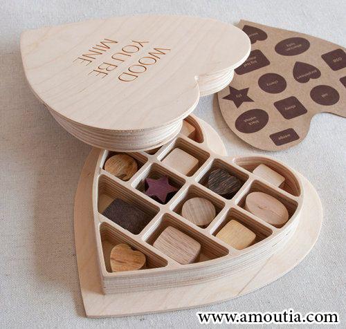 جعبه شکلات طرح قلب با استفاده از چوب