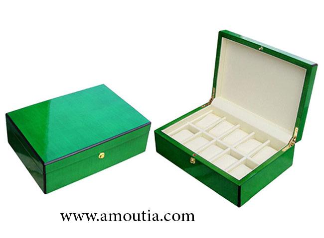 جعبه شکلات چوبی سبز رنگ