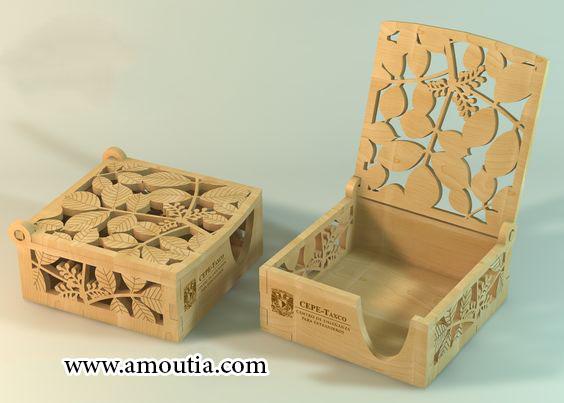 جعبه شکلات چوبی مربع طرح دار