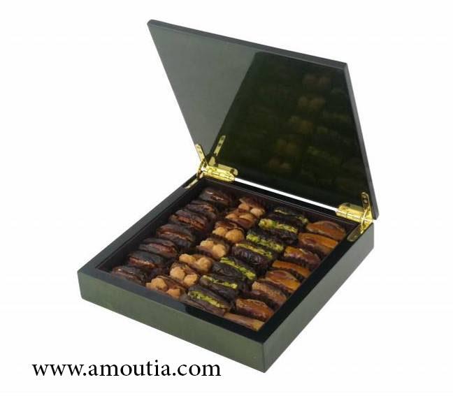 جعبه شکلات چوبی مربعی مشکی