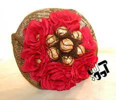 فروش دسته گل شکلاتی قرمز - فروش اینترنتی دسته گل هدیه شکلاتی