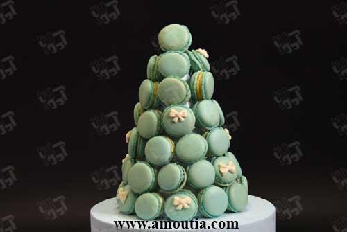 برج ماکارون خوراکی سبز رنگ