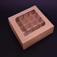 جعبه شکلات 16 تایی با مقوای کاهی