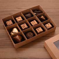 جعبه شکلات و ترافل 12 عددی با مقوای کاهی و جدا کننده متغییر