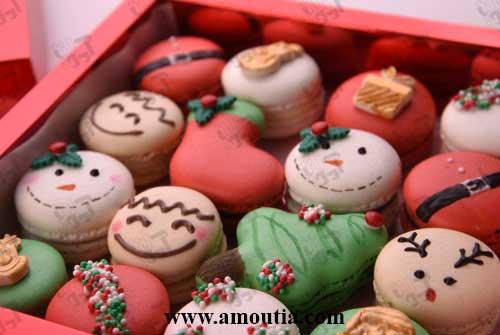 جعبه ماکارون و شکلات طرح کریسمس