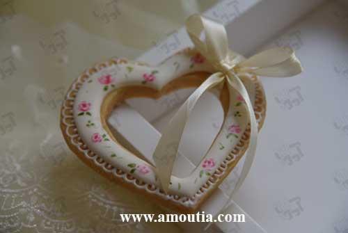 کوکی عروسی طرح قلب