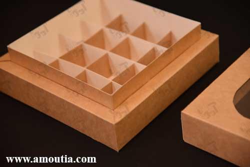 جعبه شکلات 16 تایی دیواره ضخیم با درب باز شده