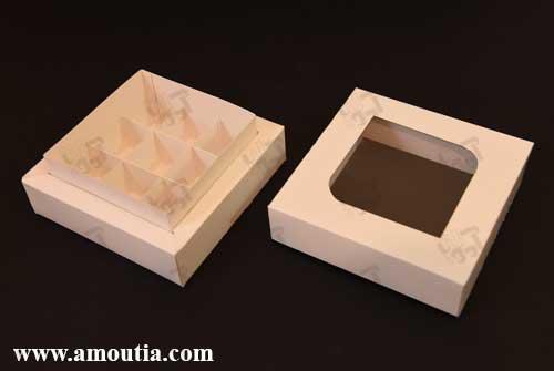 جعبه شکلات سفید سه بعدی
